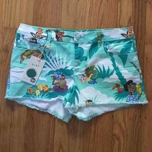 Roxy Denim Hula Hawaiian Print Shorts